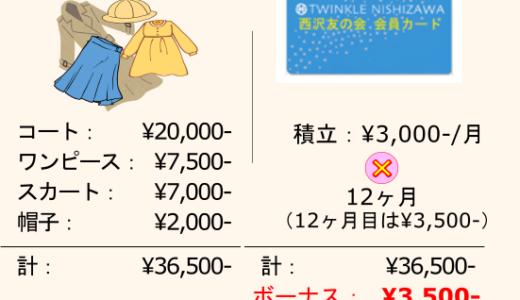 西沢友の会満期時ボーナスと、普段のお買い物の比較